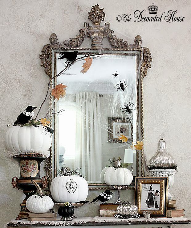 The Decorated House: ~ Halloween Decor :: Vintage Antique Books. Mercury Glass. Black & White Pumpkins Painted and Velvet.