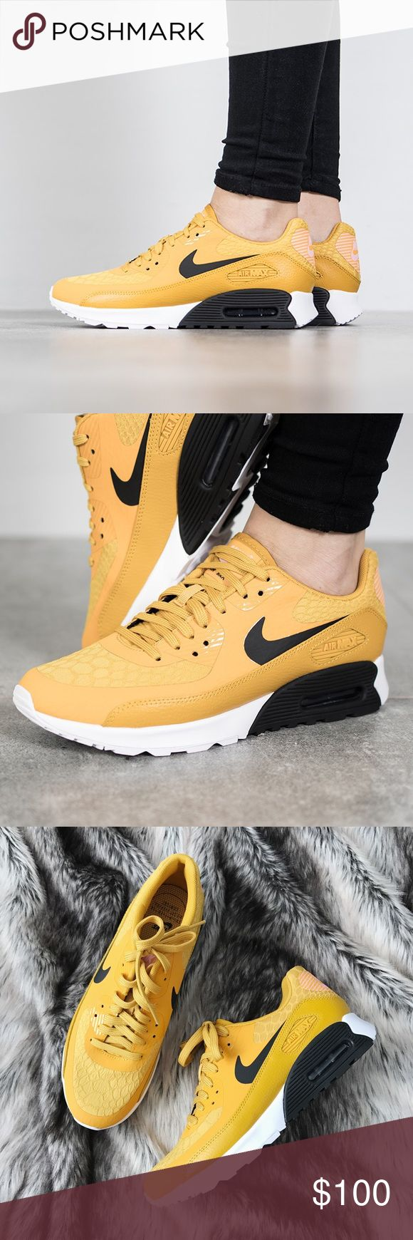 Nike Mustard Air Max 90 Ultra 2.0 Sneakers •A lightweight, cushioned footbed and Air Max unit enhance the comfort of a classic Nike sneaker that traces origins all the way back to Nike footwear of the 1970s.  •Women's size 8,  true to size but best for a normal-wide width foot.  •New in box, no lid.  •NO TRADES/HOLDS/PAYPAL/MERC/VINTED/NONSENSE. Nike Shoes Sneakers
