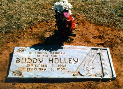"Buddy Holly~ killed in a small plane crash along with Ritchie Valens and J.P. ""The Big Bopper"" Richardson. His gravestone bears the true spelling of his family name ""Holley"" and a depiction of his Fender Stratocaster."