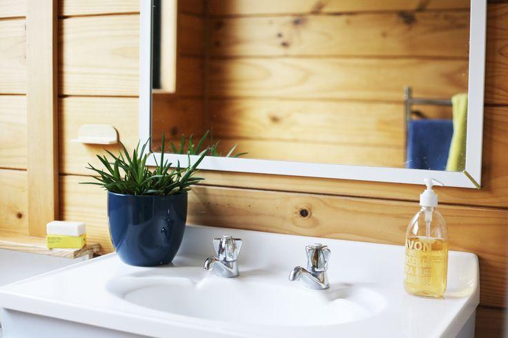 Styling by #placesandgraces - #bathroom #succulent #lockwood #blueandyellow