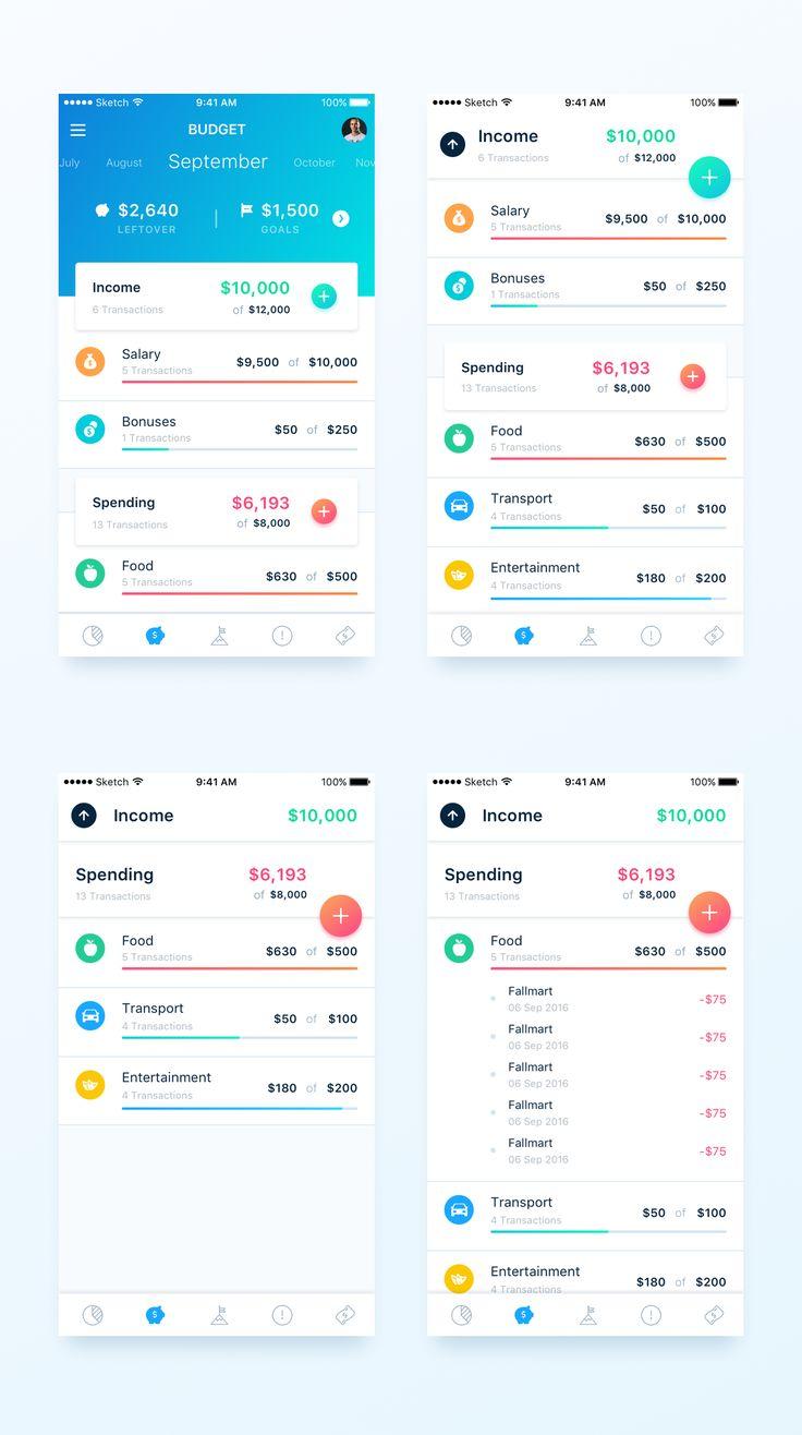 Budget 2x https://dribbble.com/shots/3534072-Finance-App-Budget-page