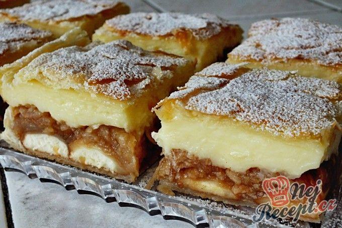 Jablkovo-pudinkový koláč z listového těsta | NejRecept.cz