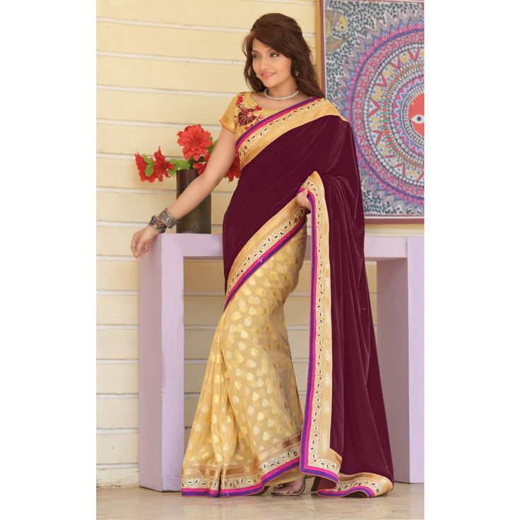 Magenta and Cream Velvet Party Wear #Saree With Blouse-             $62.05