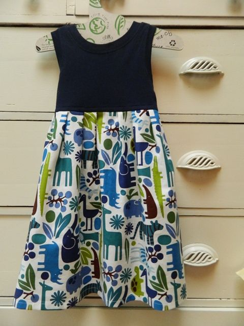 Easy T-shirt dress. I LOVE the pleats she puts in the skirt. A different look and much easier than gathers.