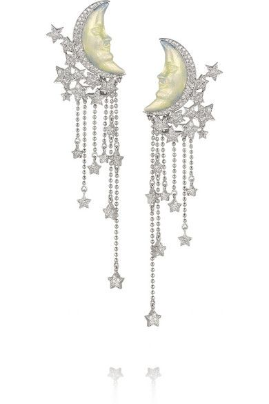 LYDIA COURTEILLE Moon 18-karat white gold, diamond and enamel earrings £19,100