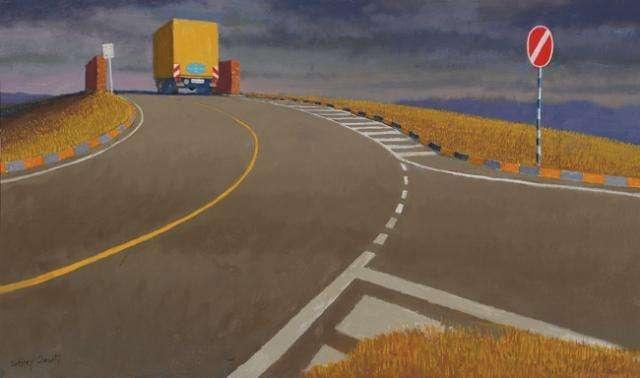 Jeffrey Smart, Study for 'Civitella' 2008 oil on canvas 41 x 68 cm AG105612 $*000 AUD SOLD