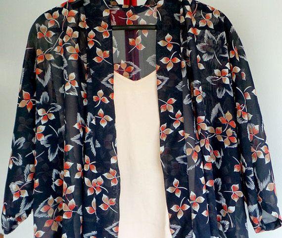 Orange + blue = stunning! Sunset Blossoms  Kimono Jacket / Cover Up by shopheymolly on Etsy, $30.00