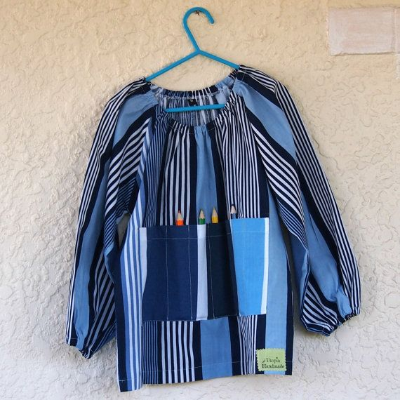 Art smock  M 5-7  Blue Stripes by UtopiaHandmade on Etsy