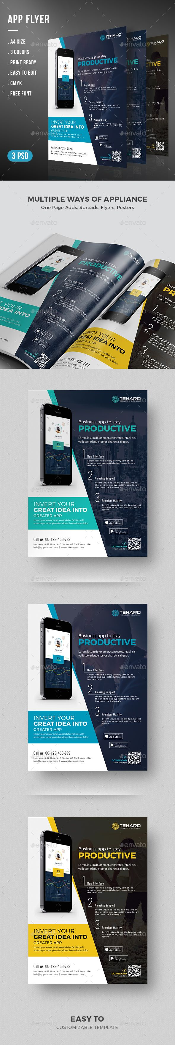 App Flyer -App Promotional Flyer Template http://graphicriver.net/item/app-flyer/15226867?ref=themedevisers