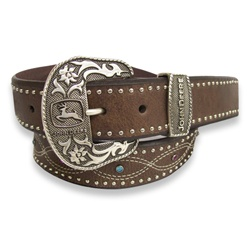 John Deere Ladies Black Belt with Pink & Blue Stones    Top grain bridle leather measures 1.5 inches wide (38 millimeter) and features a Figure-8 style stitching. Clear, pink and blue stones down center of strap with nailhead trim and floral buckle in silver with John Deere logo. The Metal loop is also featuring the John Deere name. This fashionable ladies belt is available in BLACK sizes S - XXL.    $42.00