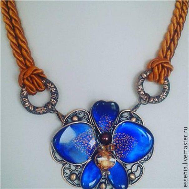 """Купить Кулон на шелковом шнуре """"За синей птицей """" - синий, орхидея, синяя орхидея"""