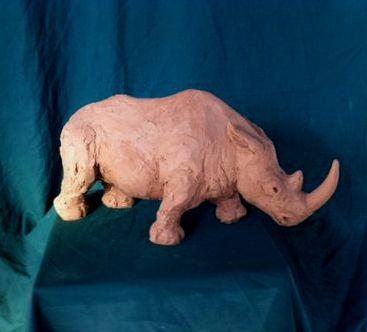 Clay sculpture Rhino