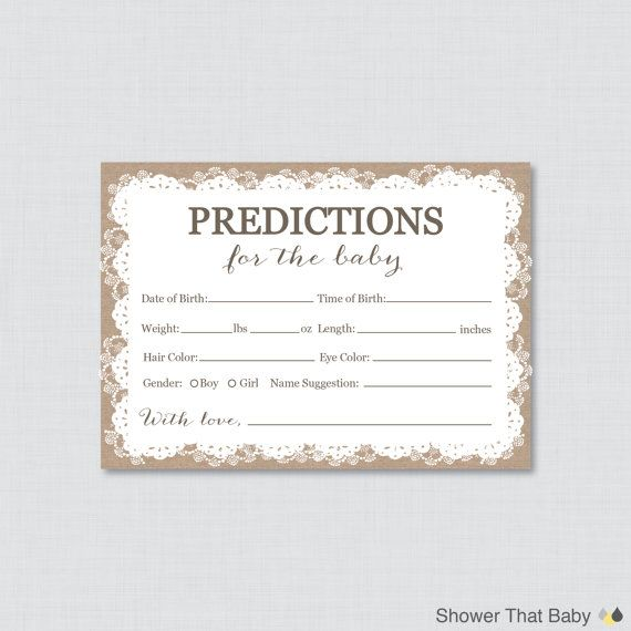 Burlap and Lace Baby Shower Prediction Cards - Instant Download - Baby Statistics Game Guess Baby's Birthday, Weight, etc -  Burlap Lace