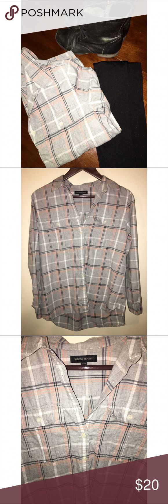 Lightweight Banana Republic plaid button down Light colors; thin material. Looks great with black leggings and boots! Colors: Gray, White, Black, Pink-Orange. Banana Republic Tops Button Down Shirts