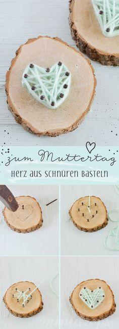 String Art Herz zum Muttertag - so süß und ganz einfach! Niedliche Bastelidee für Kinder zum Muttertag von Minidrops //#Muttertag #Basteln #Kinder #Minidrops