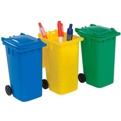 Promotional Recycled Wheelie Bin Pen Pot thats made from recycled polypropylene.