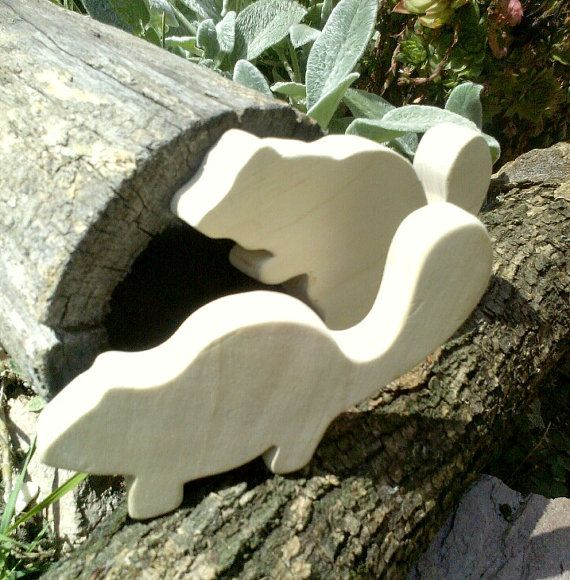 Wooden beavers set of two natural toys in waldorf style