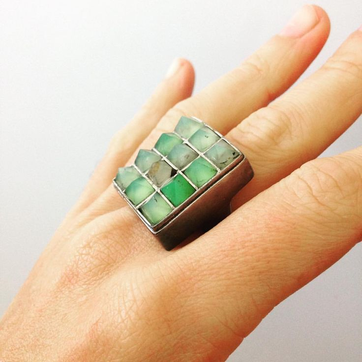 Unique fashion ring, an early Bastileaux design featuring Amazonite gemstones.