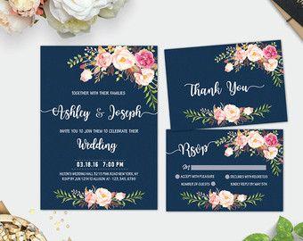 Navy Wedding Invitation, Wedding Invitation Template, Wedding Invitation Set, Printable Invitation, Navy & Pink Floral, Fast Customization