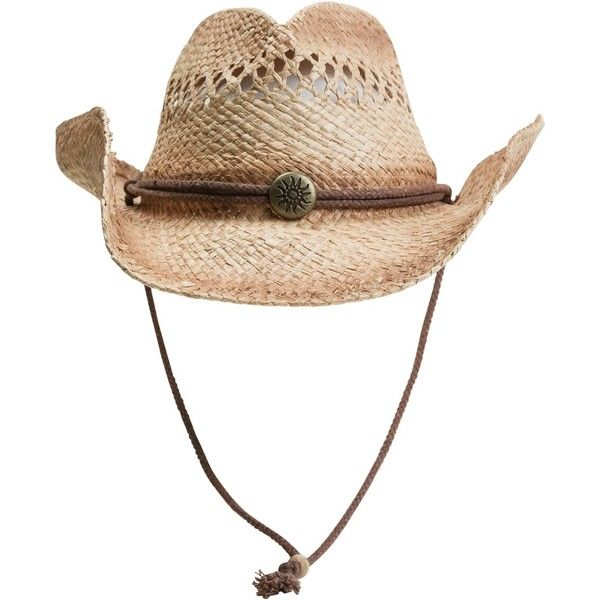 Bradley cowboy hat ($31) ❤ liked on Polyvore featuring accessories, hats, hair, straw cowgirl hats, straw hats, western hats, straw cowboy hats and cowboy hat