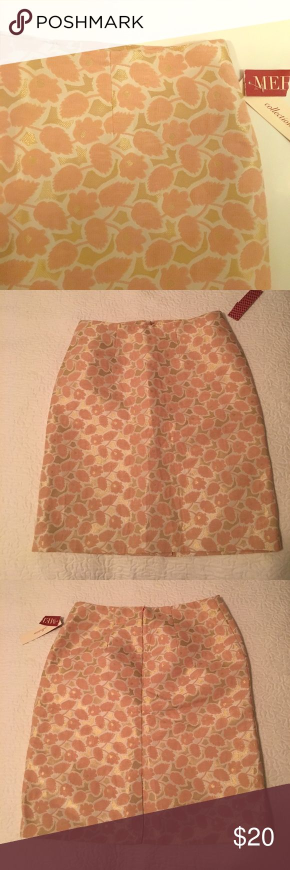 NWT blush pink and gold pencil skirt Brand-new with tags blush pink and gold Jacquard pencil skirt. 20 3/4 inches long, perfect for spring.  Size two but fits like a four. Brand is morons but looks like jcrew :) J. Crew Skirts Pencil