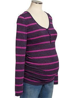 Maternity Striped Slub-Knit Henleys