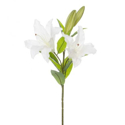 Lily Casablanca   (2 Flowers 95cmST) Real Touch White