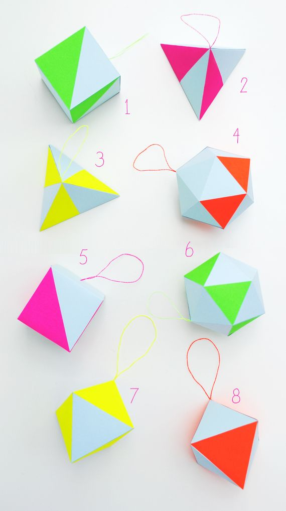 DIY Pastel and Neon Geometric Decorations