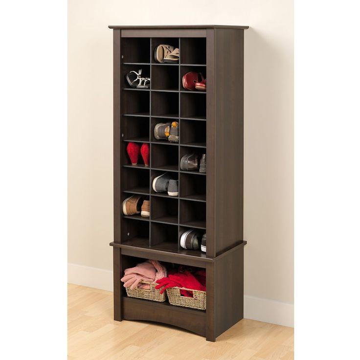 Grande armoire à compartiments pour chaussures, expresso
