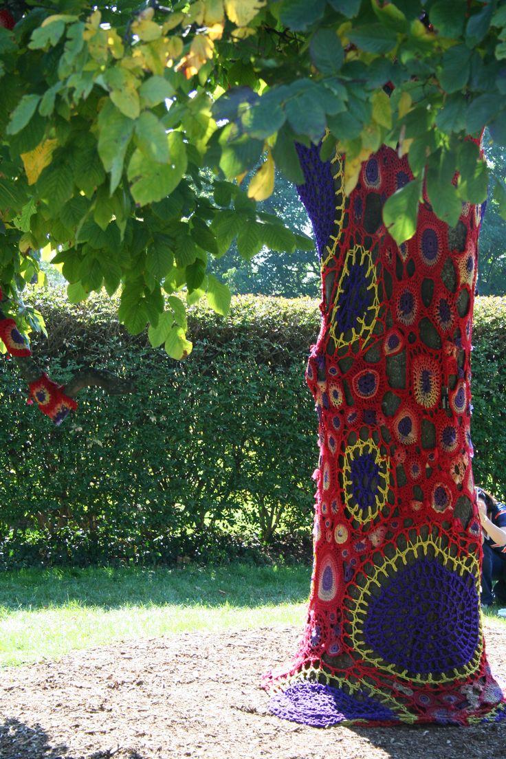 Freeform Crochet Meets Nature                      {Yarnbombed tree at Morton Arboretum}