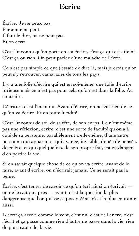 Marguerite Duras - écrire pour ne pas mourir