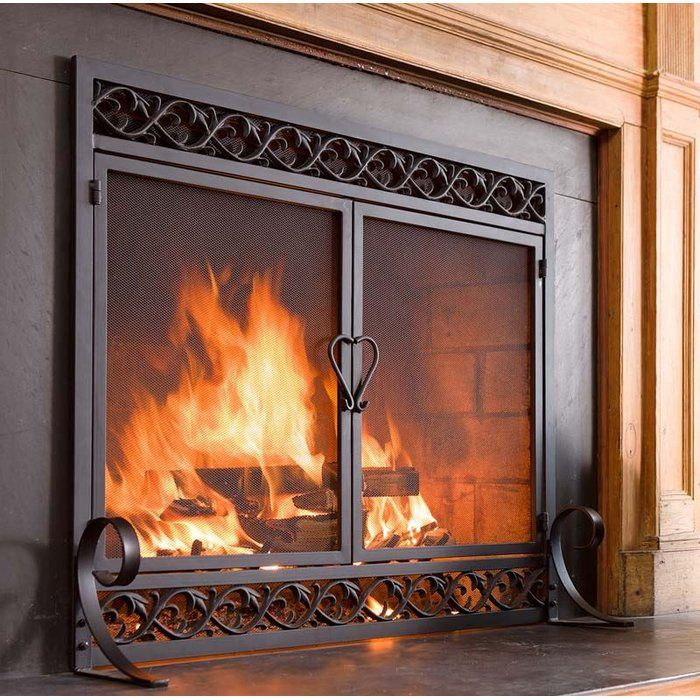 Scrollwork Single Panel Iron Fireplace Screen Fireplace Screens With Doors Fireplace Doors Fireplace Screens