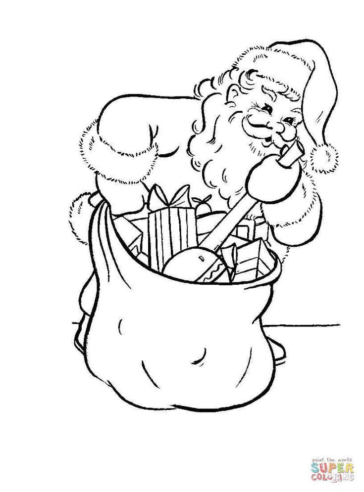 ausmalbild: weihnachtsmann packt seinen sack