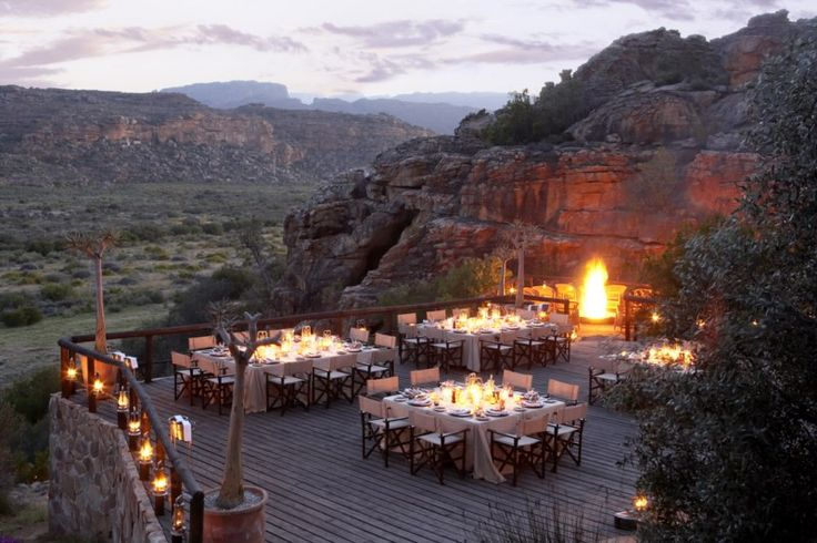 Dinner under the stars at the magnificent Bushmans Kloof Wilderness Reserve & Wellness Retreat nestles.  http://www.south-african-hotels.com/hotels/bushmans-kloof/