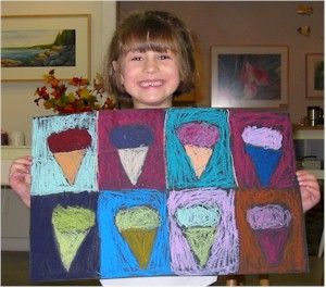 Warhol for Preschool!  Pop Art Ice Cream Painting - Art History - KinderArt
