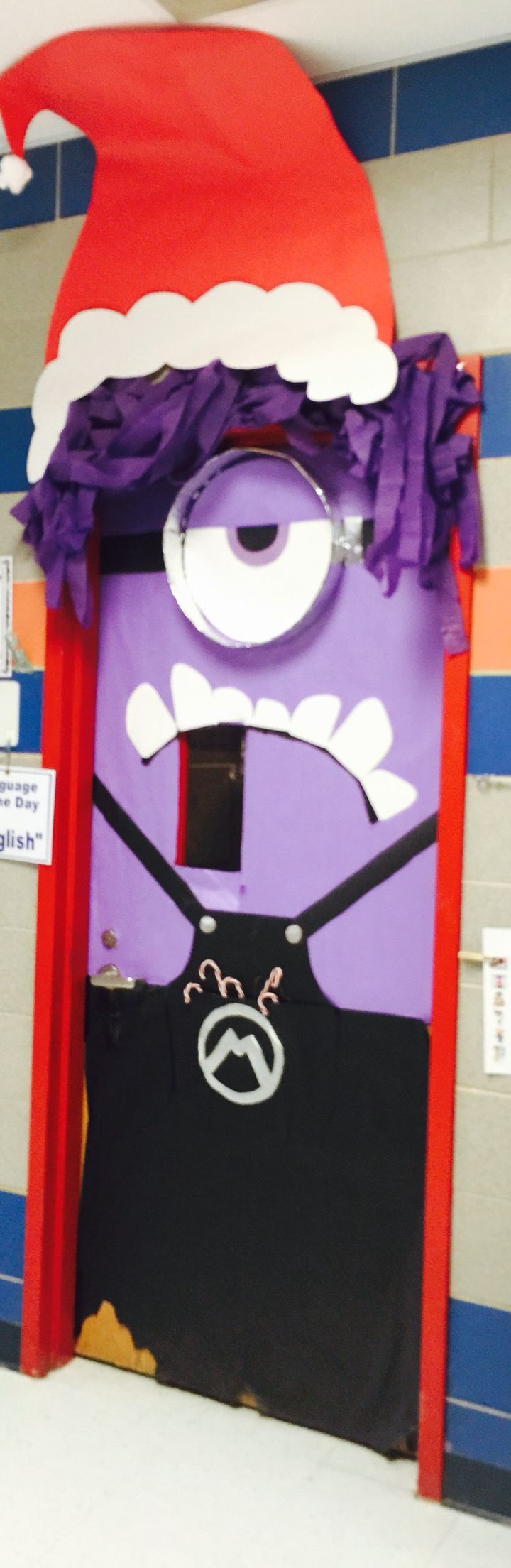 Minion with Christmas hat. Door decor