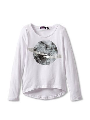 73% OFF Dex Girl's Longsleeve Crew Neck Cosmic Print Top with Glitter (White)