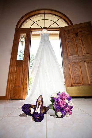 Wedding dress with purple pumps | Matt Mason Photography | Lake Geneva, WI