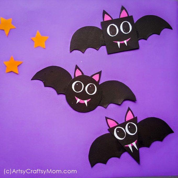 Shape Bats Halloween Paper Craft For Preschoolers Free
