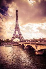 Beautiful Eiffel Tower in Paris France under golden light