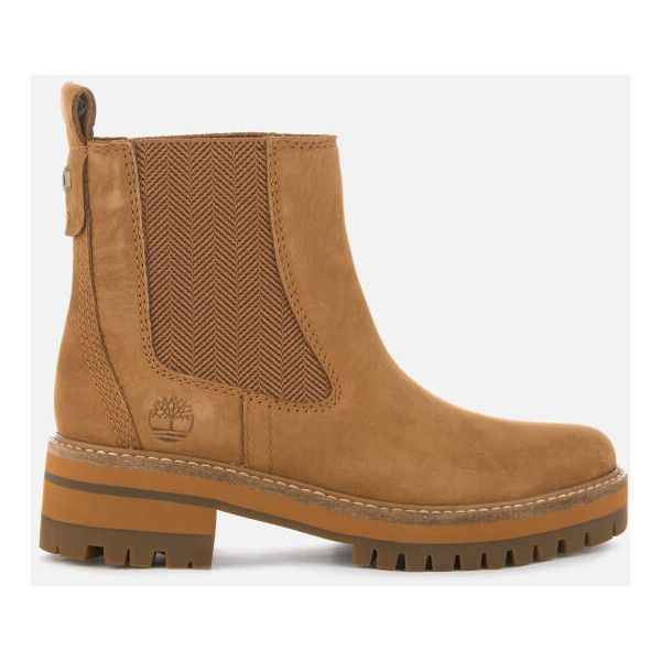 Timberland Women's Courmayeur Valley Chelsea Boots (58 KWD) ❤ liked on Polyvore featuring shoes, boots, ankle booties, tan, tan short boots, flat boots, short boots, flat ankle bootie and tan flat booties
