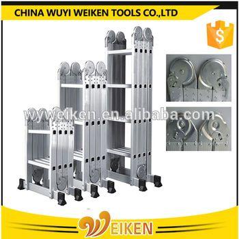 wuyi big hinge 4x5 step aluminum folding ladder