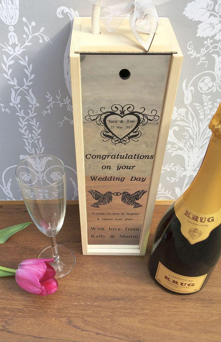 Wedding Wine Box Mr Mrs Gift Engraved Personalised Newly Weds Custom