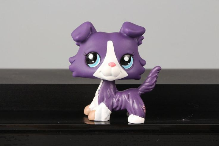 Lovely Pet LPS Collie Dog Puppy Purple White Pink Blue