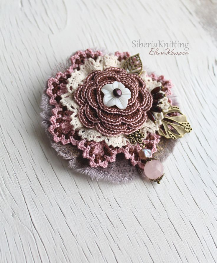 """Boho brooch """"Sweet Almond"""" with natural garnet, pearl and quartz. Lace brooch…"""