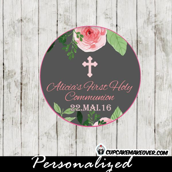 27 best first holy communion invitations diy printable images on pink roses watercolor first communion favor tags personalized d9 solutioingenieria Images