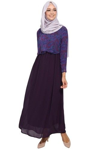 Greer Cape Chiffon Maxi Dress from Poplook in purple and multi_1