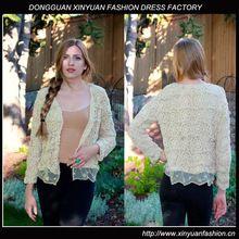 Ladies Beige Lace Silk Cardigan Sweater XYW2829