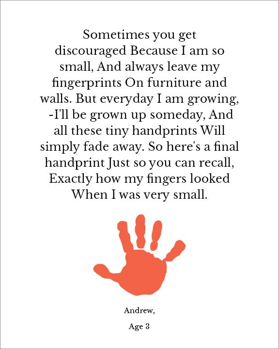 Universal image pertaining to sometimes you get discouraged handprint poem printable