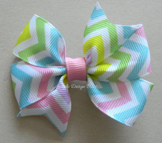 Chevron Hair Bow - Spring Hair Bow - Easter Hair Bow - Pastel Bow by simpledesignbows